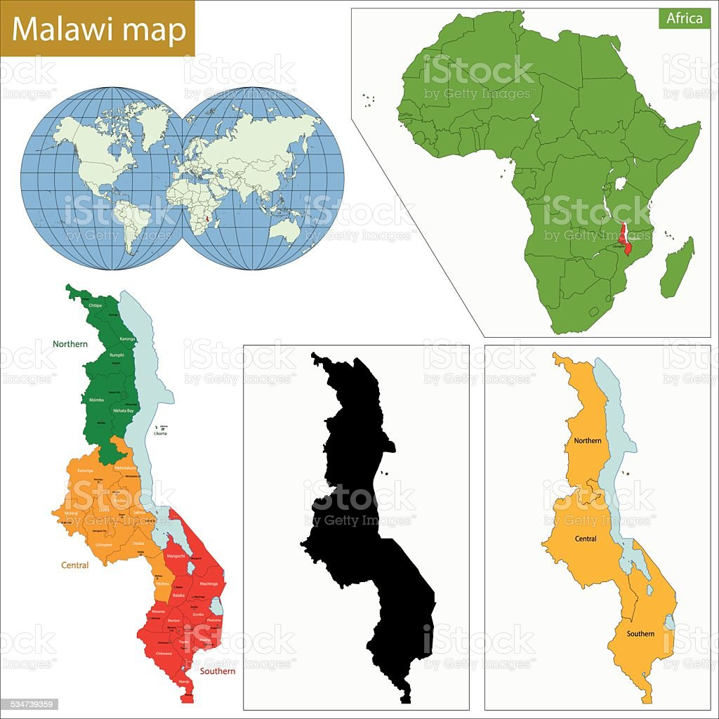 Malawi map vector art illustration