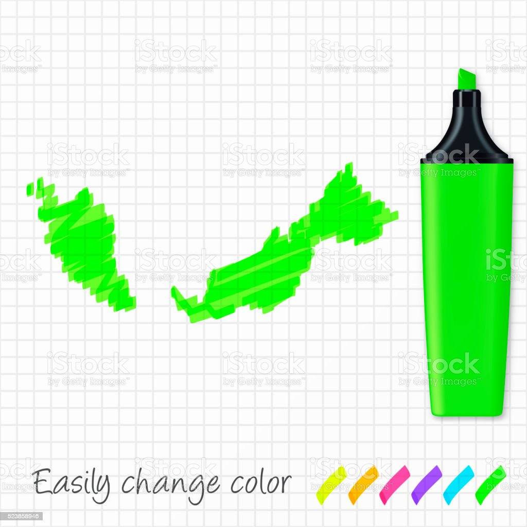 Malaysia map hand drawn on grid paper, green highlighter vector art illustration