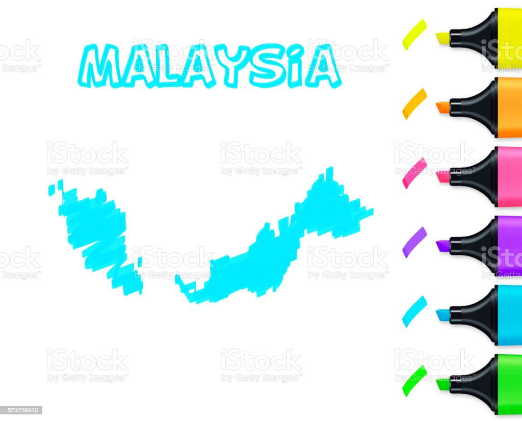 Malaysia map hand drawn on white background, blue highlighter vector art illustration