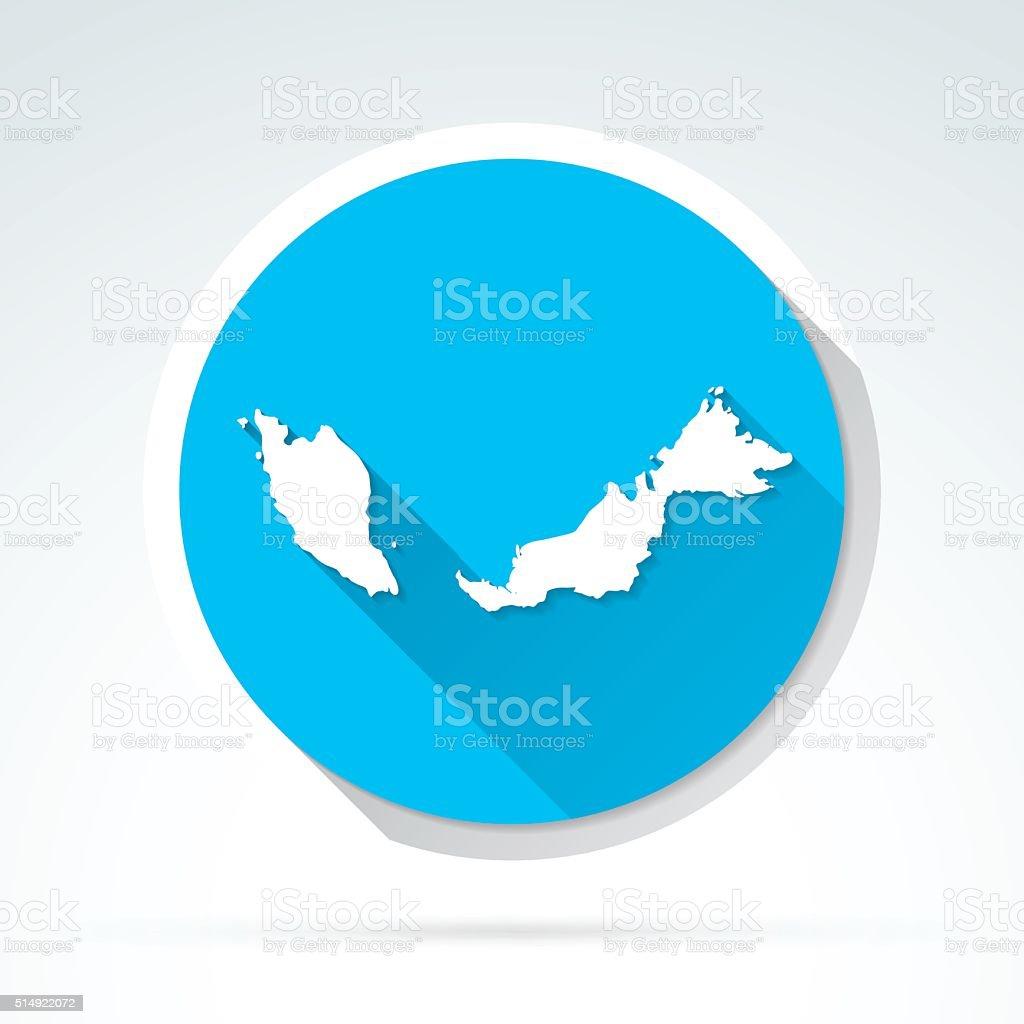Malaysia map icon, Flat Design, Long Shadow vector art illustration