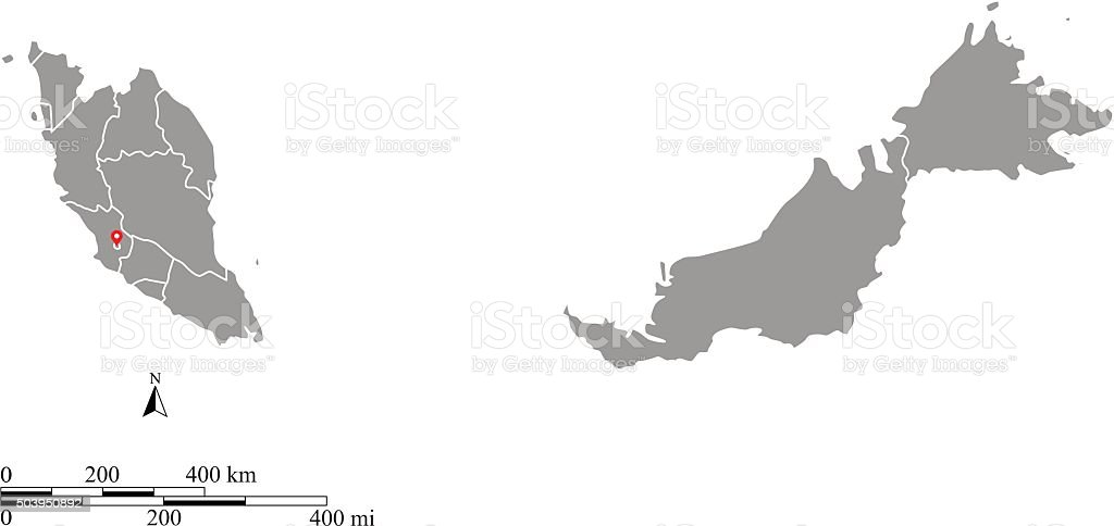 Malaysia map outline vector with scales of miles and kilometers vector art illustration