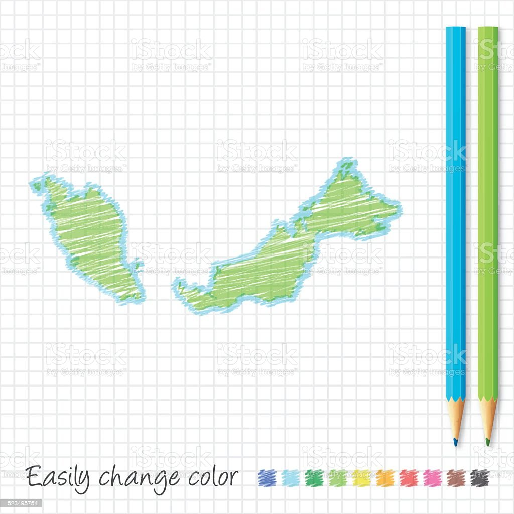 Malaysia map sketch with color pencils, on grid paper vector art illustration