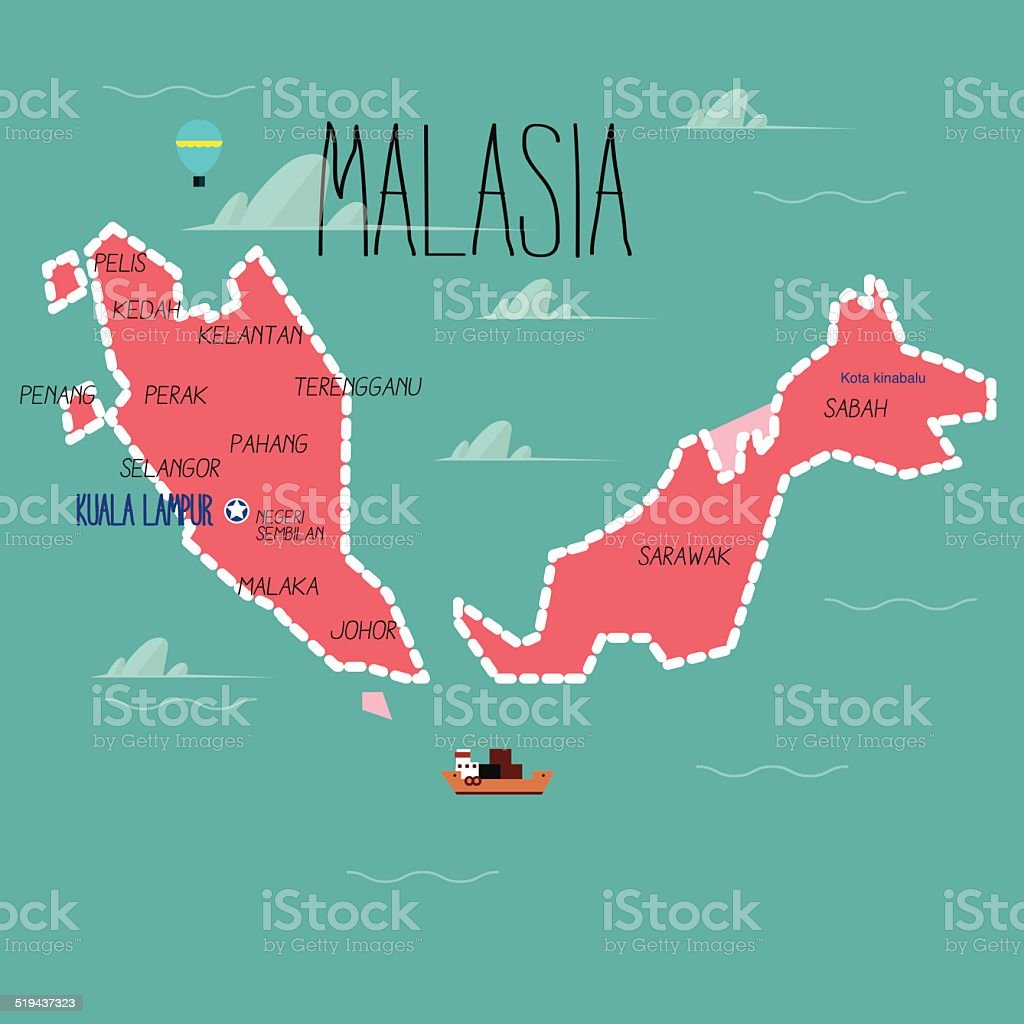 Malaysia map - vector illustration vector art illustration