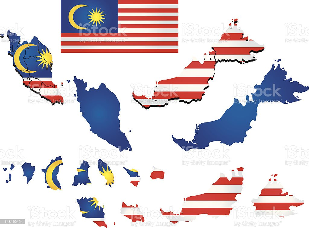 Malaysia map with flag royalty-free stock vector art