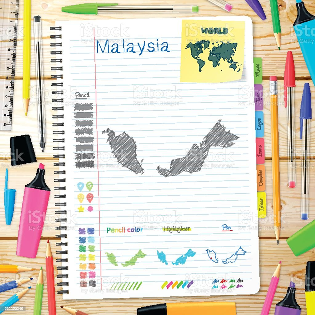 Malaysia maps hand drawn on notebook. Wooden Background vector art illustration