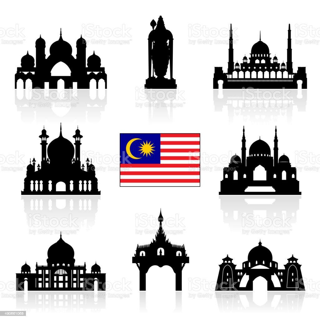 Malaysia Travel Landmarks vector art illustration