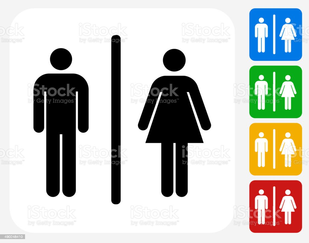 Male and Female Bathroom Sign Icon Flat Graphic Design vector art illustration