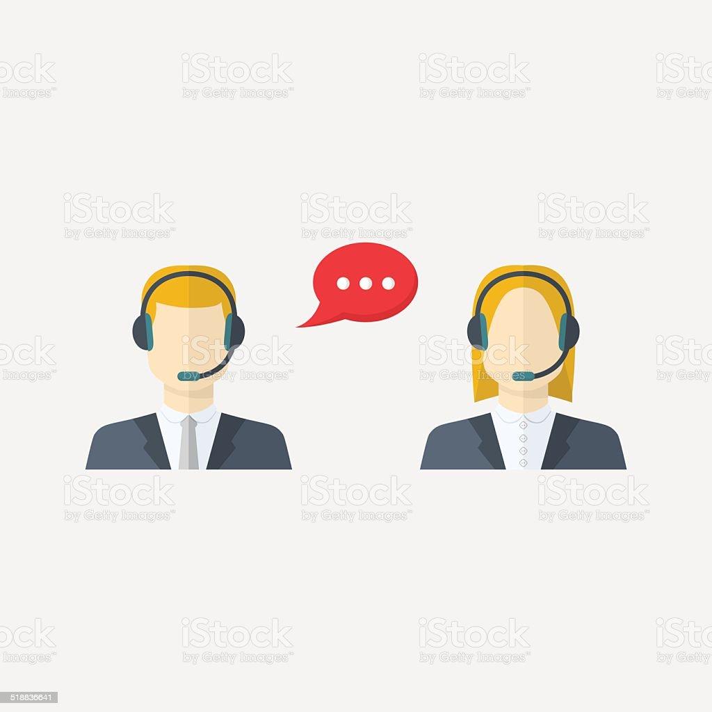 Male and female call center avatars vector art illustration