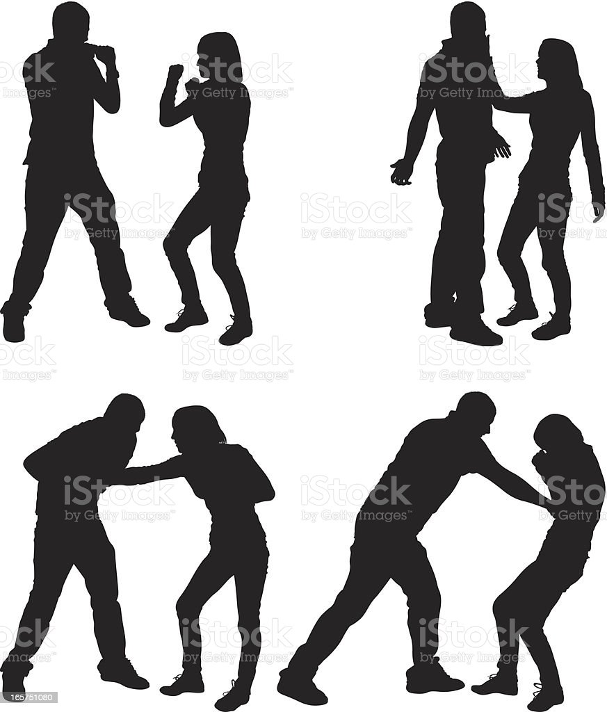 Male and female couple fist fighting royalty-free stock vector art