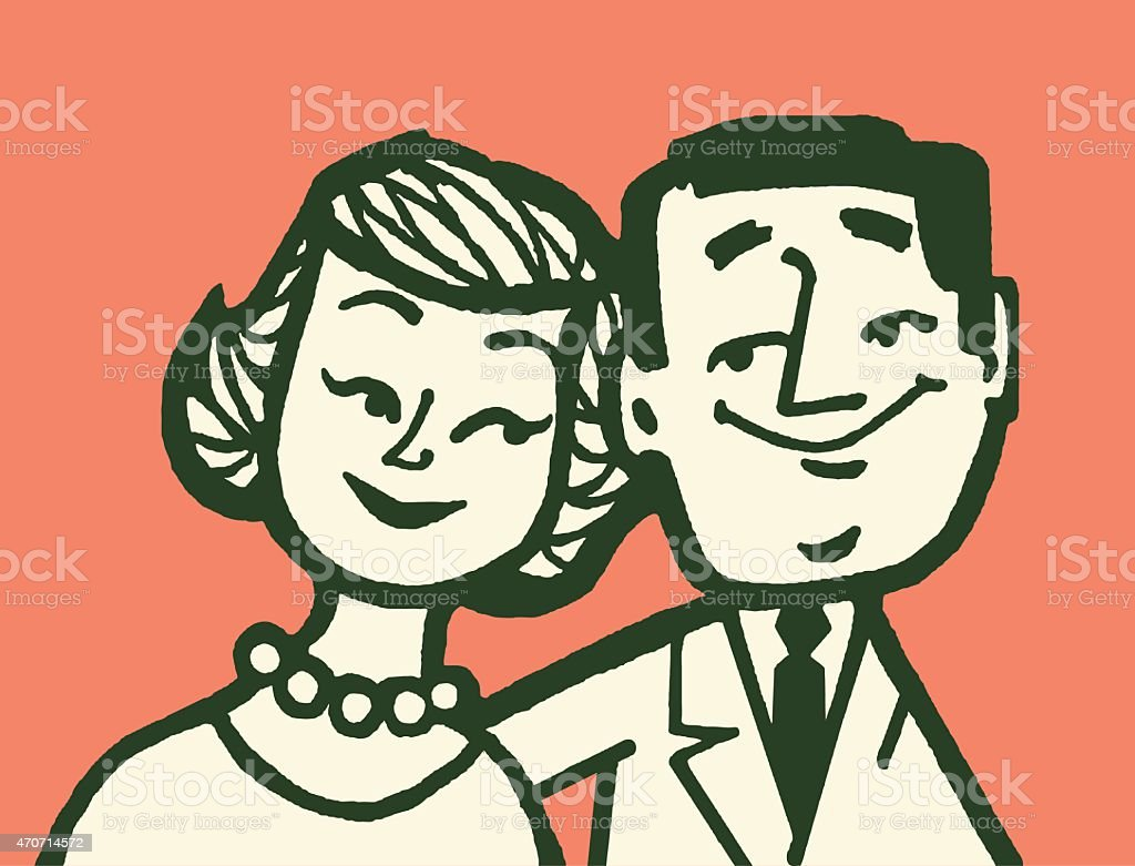 Male and Female Couple vector art illustration