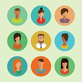 male and female faces avatars. flat vector icons set