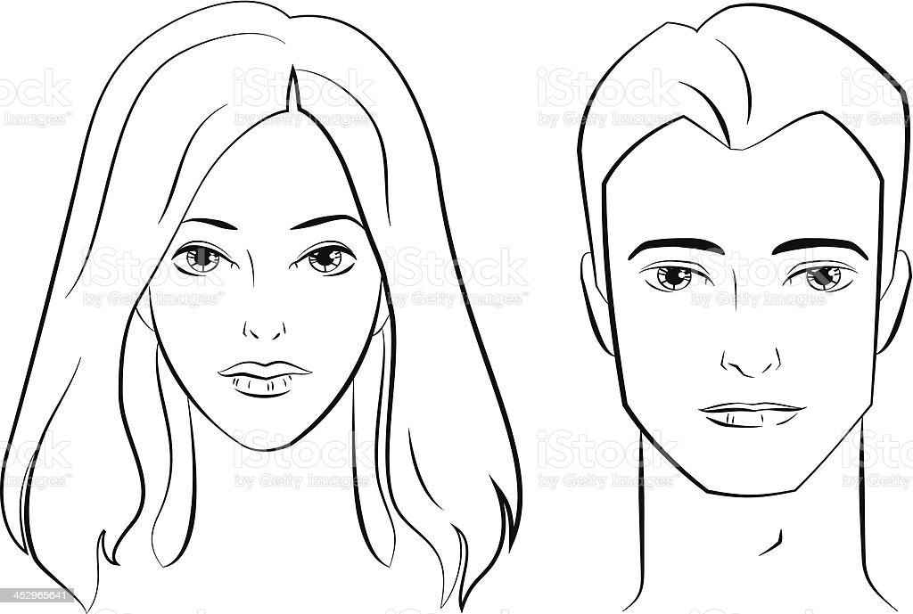 Лица мужчин и женщин рисованные