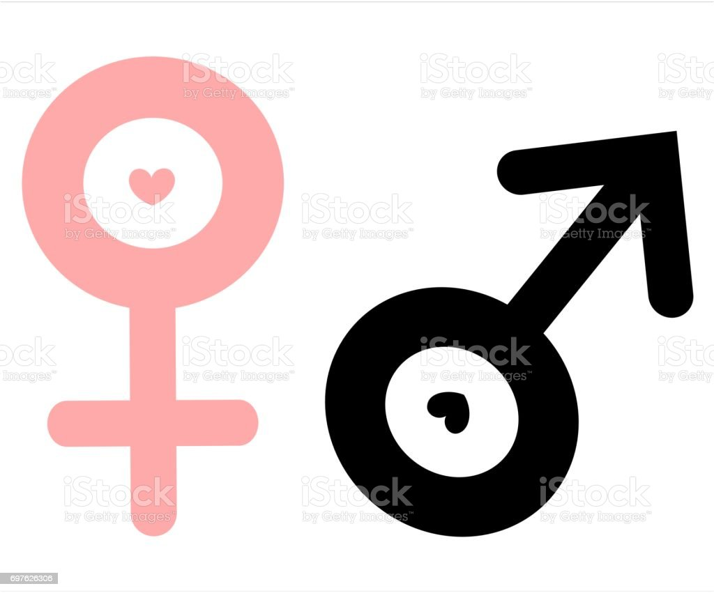 Male And Female Gender Symbols Isolated On White Background Vector