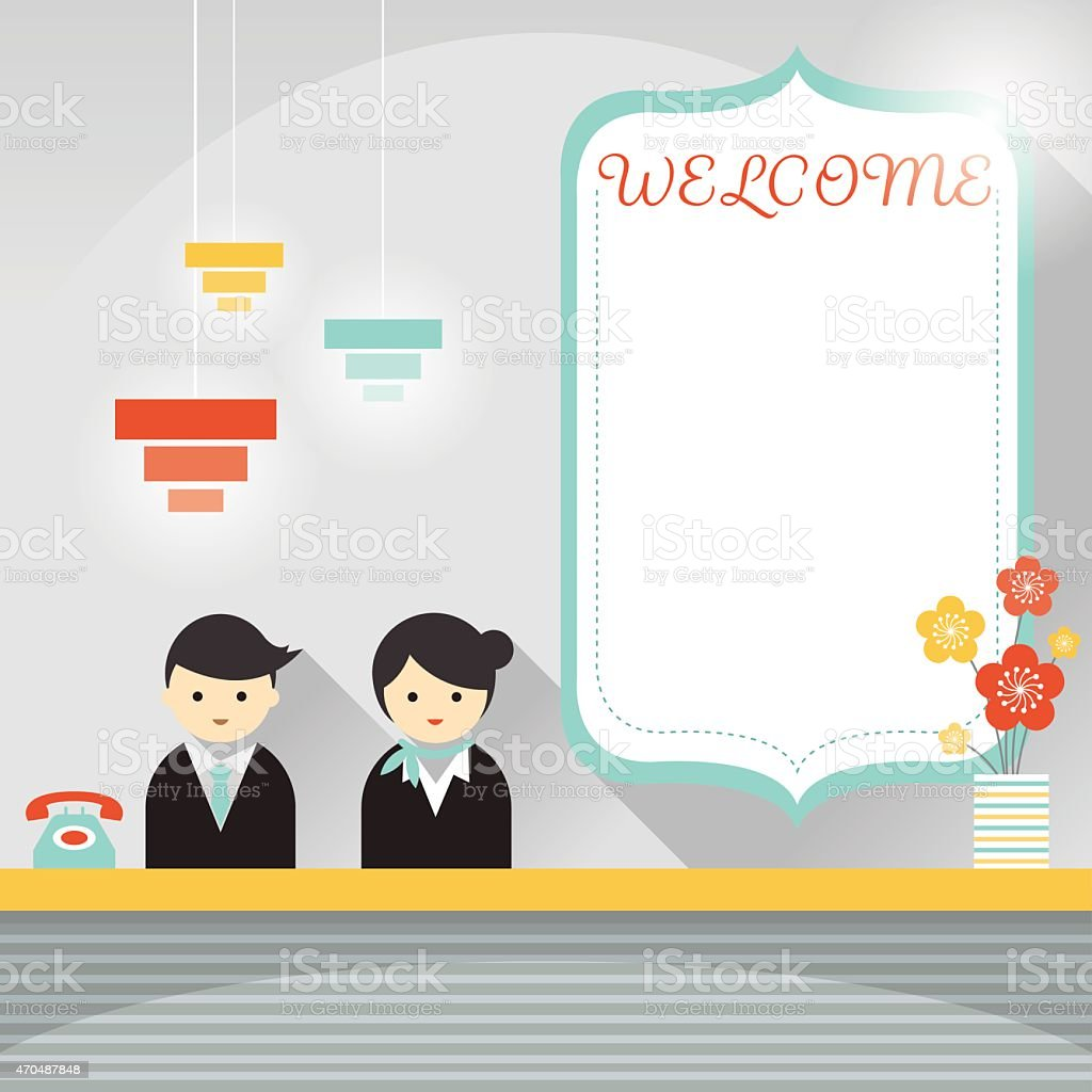 Male and Female Hotel Receptionist Frame and Elements vector art illustration