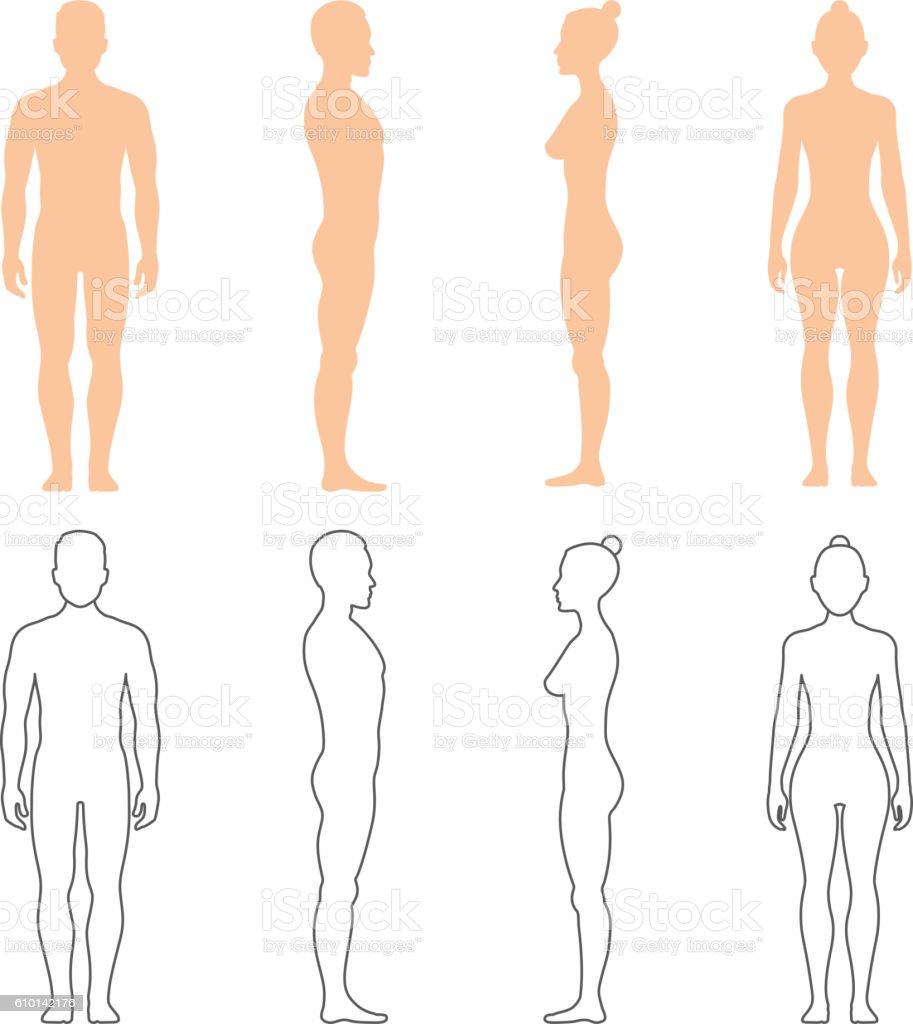 Male and female human vector silhouettes vector art illustration