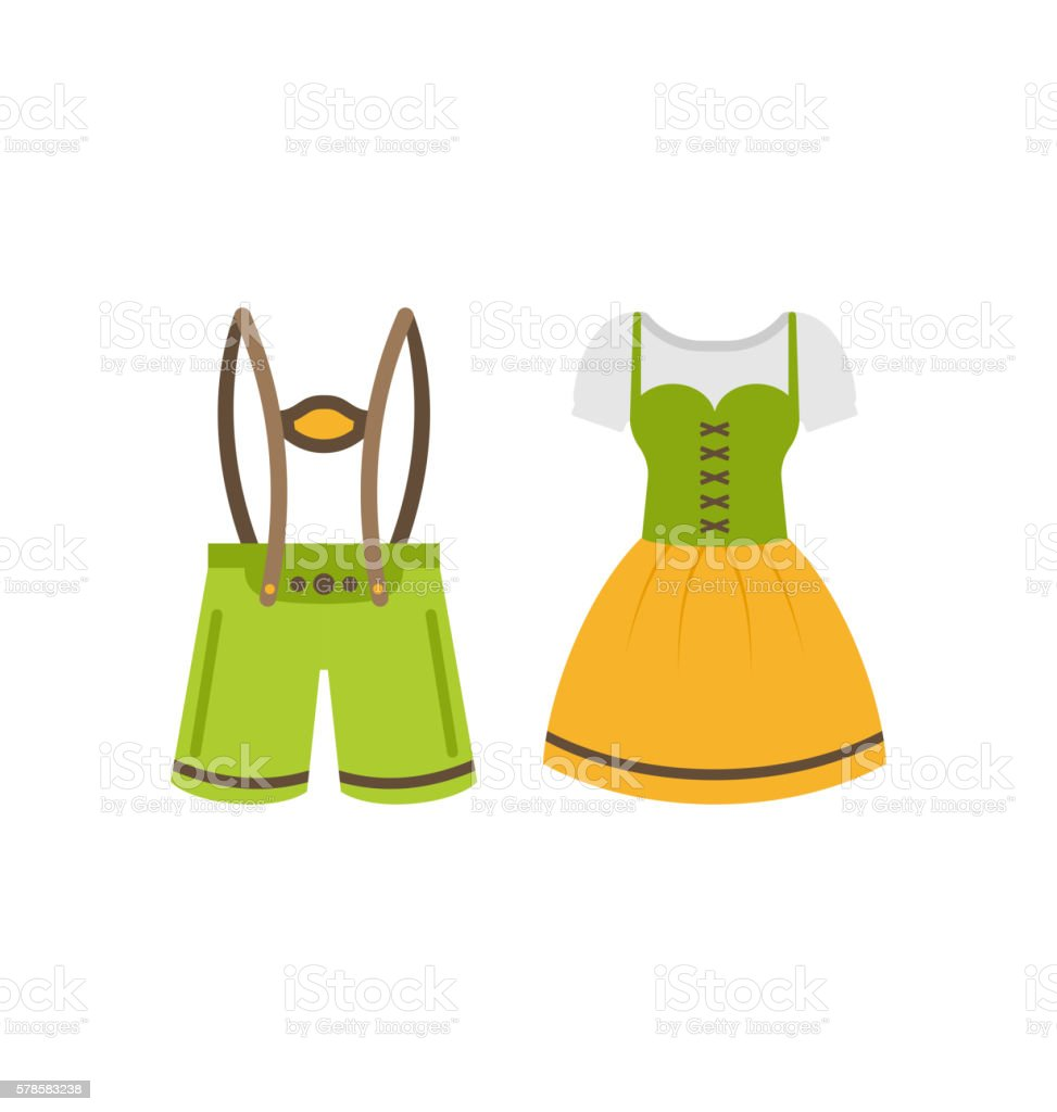 Male and Female National Bavarian Costumes vector art illustration