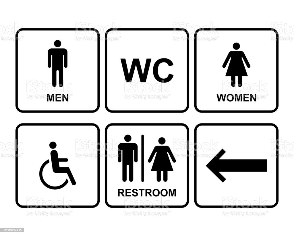 Bathroom sign with arrow - Male And Female Restroom Symbol Icons With Men Women Arrow Royalty Free Stock