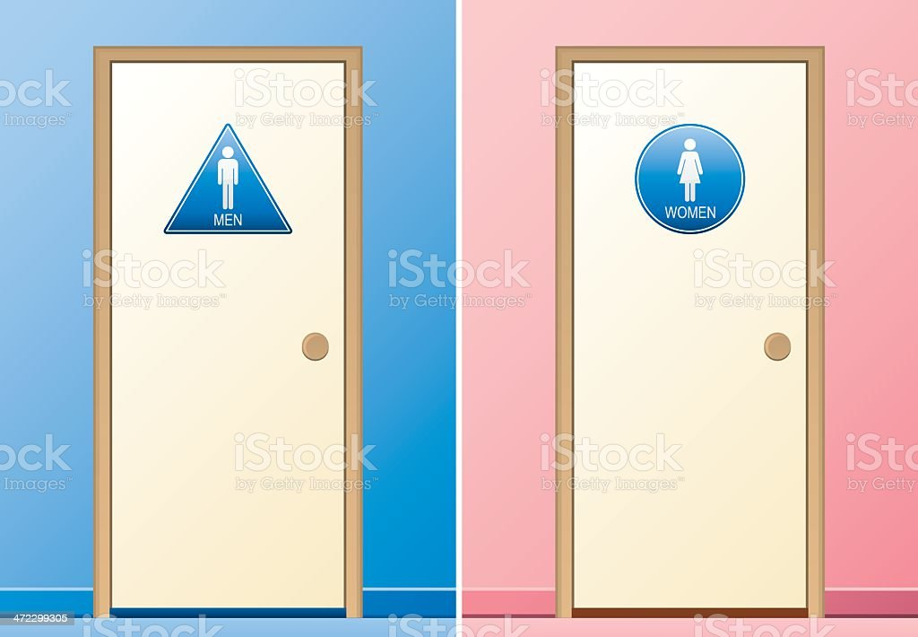 Male and Female Restrooms royalty-free stock vector art