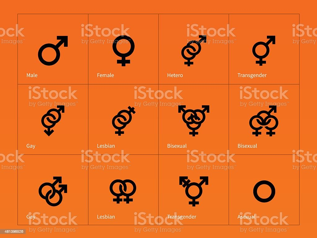 Male and Female sex symbol icons on orange background vector art illustration