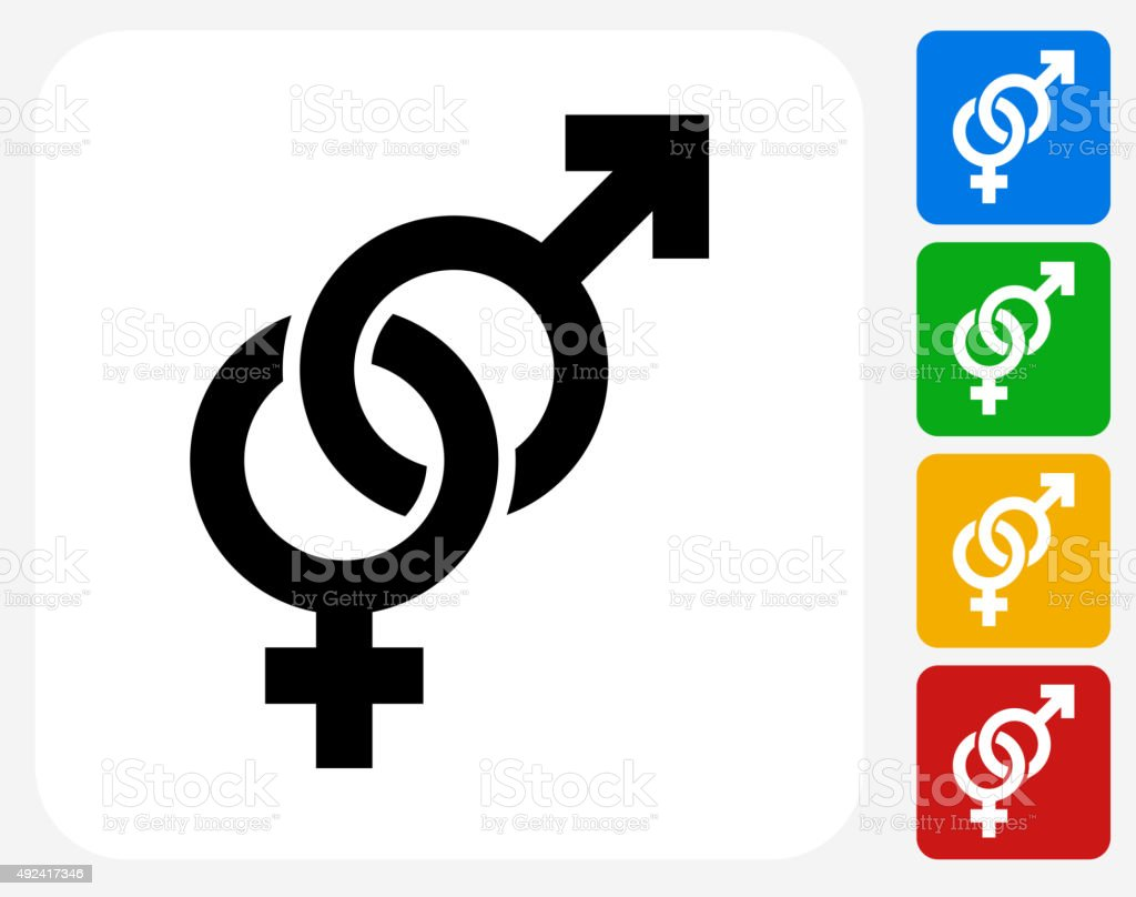Male and Female Signs Icon Flat Graphic Design vector art illustration
