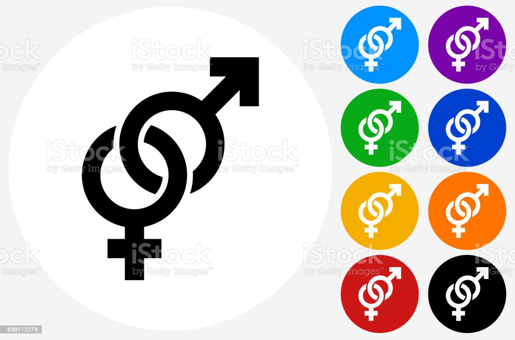 Male and Female Signs Icon on Flat Color Circle Buttons vector art illustration