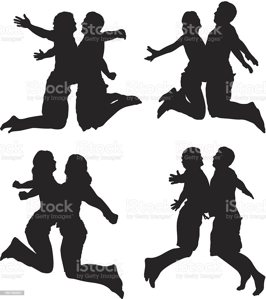 Male and female silhouettes jumping chest bumps vector art illustration