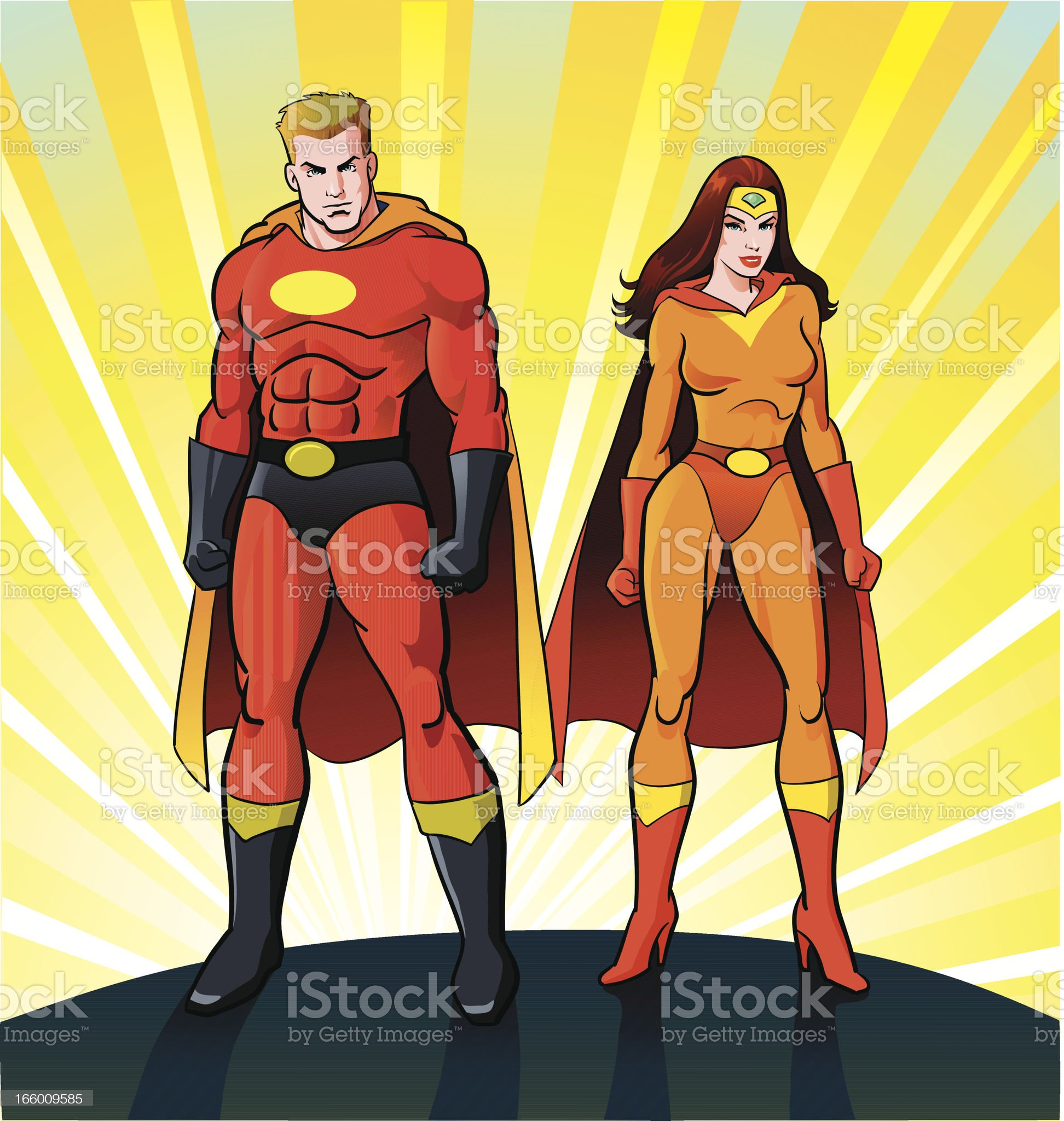 Male and Female Super Heroes royalty-free stock vector art