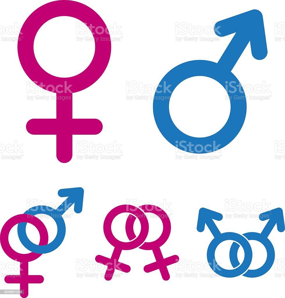 Male And Female Symbols vector art illustration