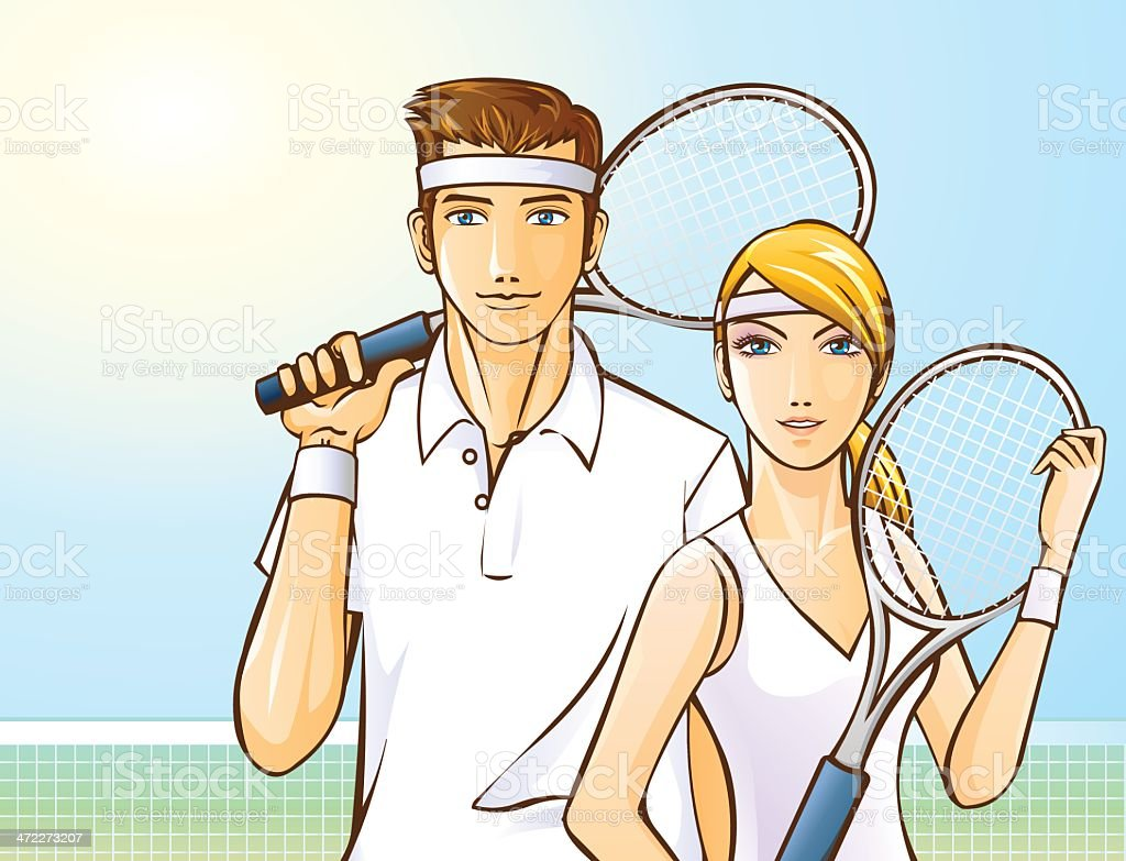 Male and Female Tennis Players royalty-free stock vector art