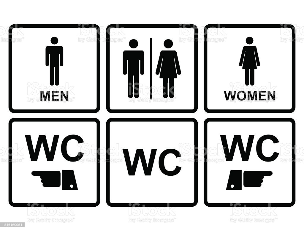 male and female wc icon denoting toilet restroom. Black Bedroom Furniture Sets. Home Design Ideas