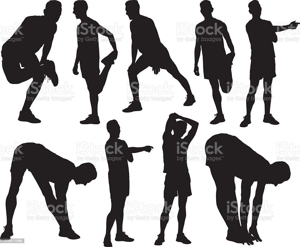 Male athlete exercising vector art illustration