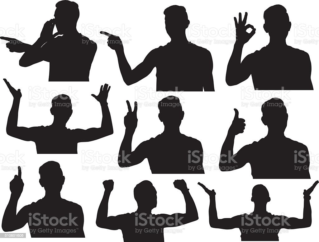Male athlete in various actions vector art illustration