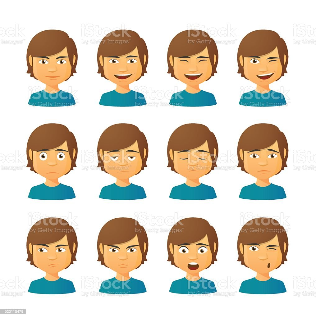 Male avatar expression set vector art illustration