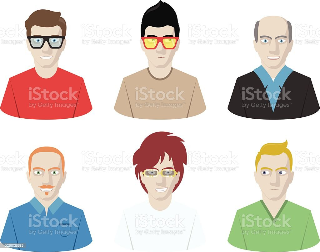 Male Avatar Set vector art illustration