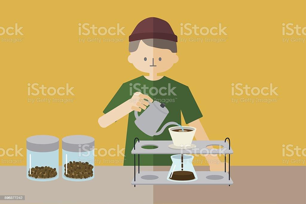 Male barista making a coffee vector art illustration