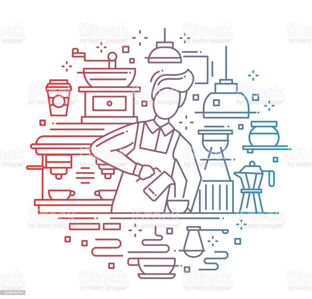 Male barista making coffee - line design composition color gradient vector art illustration