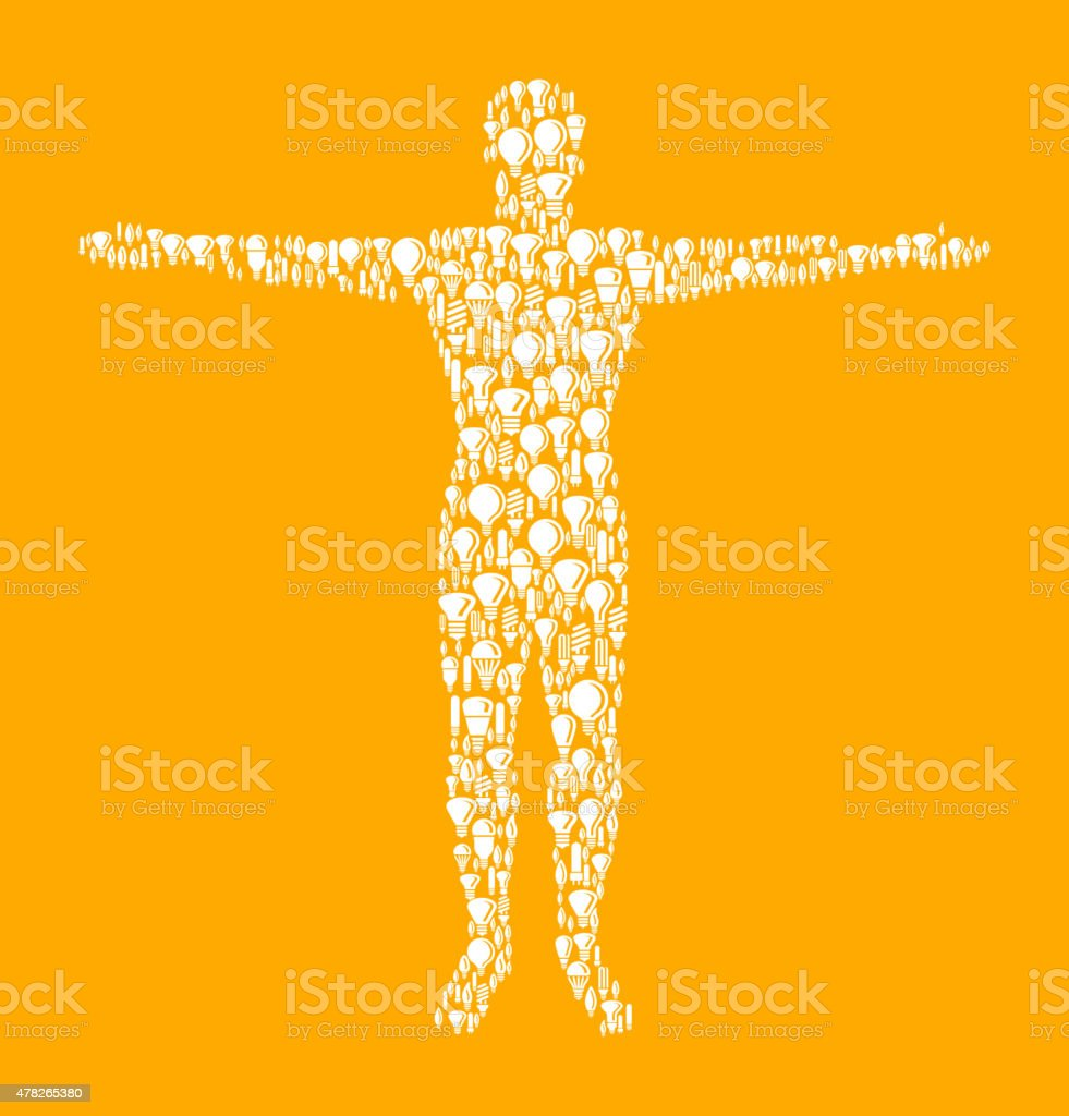 Male Body with Hands Out on Vector Lightbulb Pattern Background vector art illustration