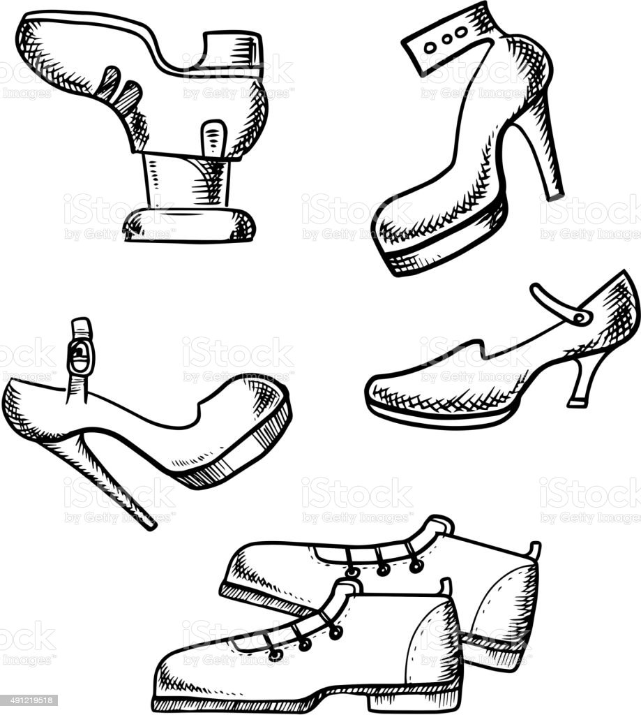 Male boots and female high heeled shoes vector art illustration