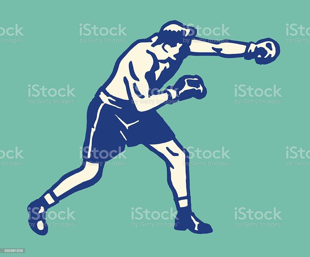 Male Boxer vector art illustration