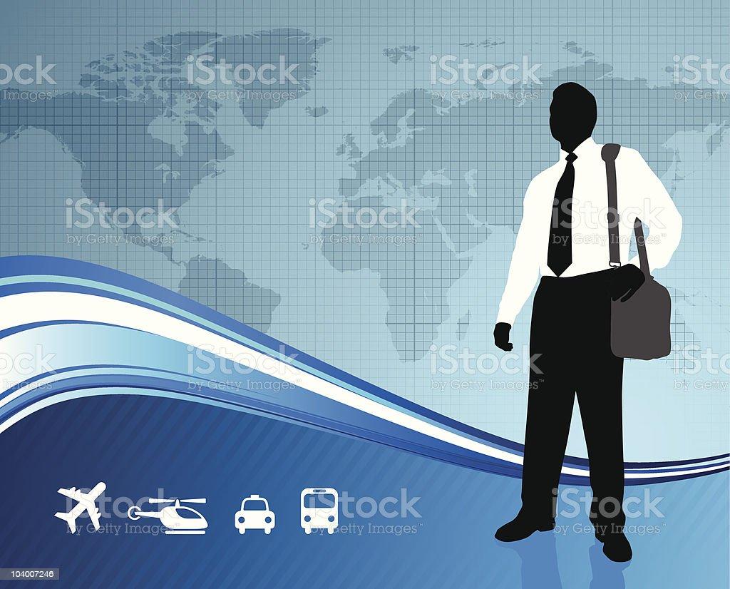Male Business traveler on global communication background royalty-free stock vector art