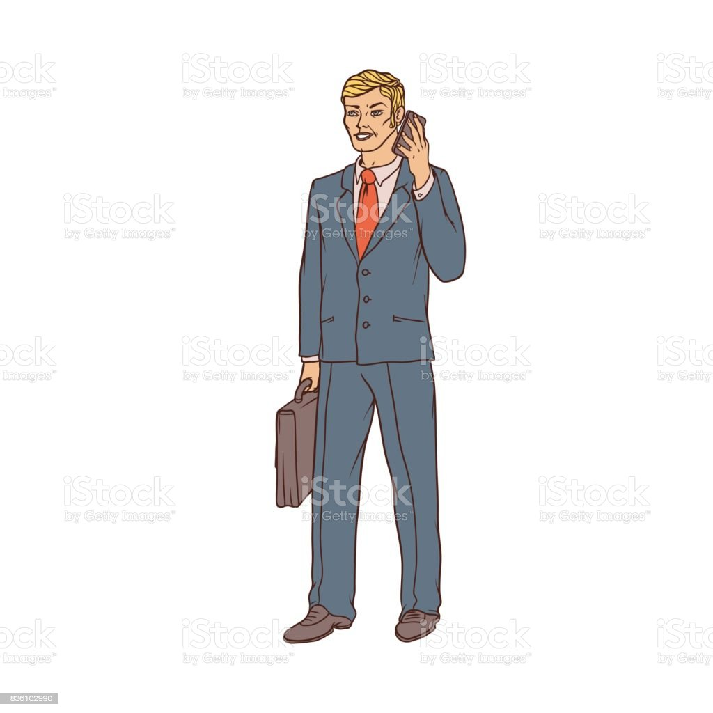 Male businessman in a business suit and a suitcase to talk on the cell phone in hand. Worker in finance and trade. People of professions. Vector colored sketch of realistic illustration. vector art illustration