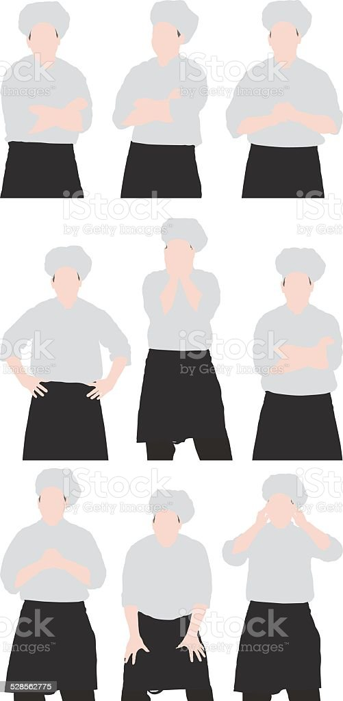 Male chef in various actions vector art illustration