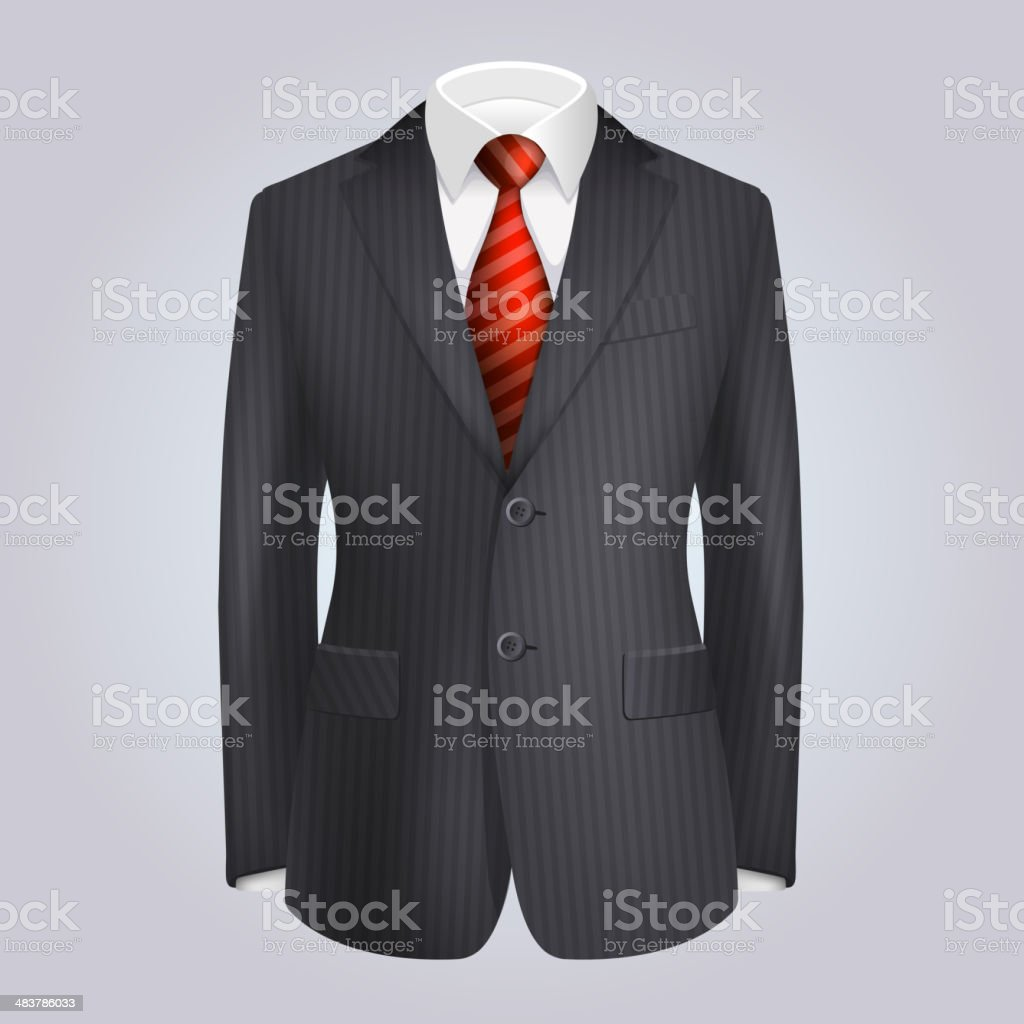 Male Clothing Dark Striped Suit with Red Tie. Vector royalty-free stock vector art