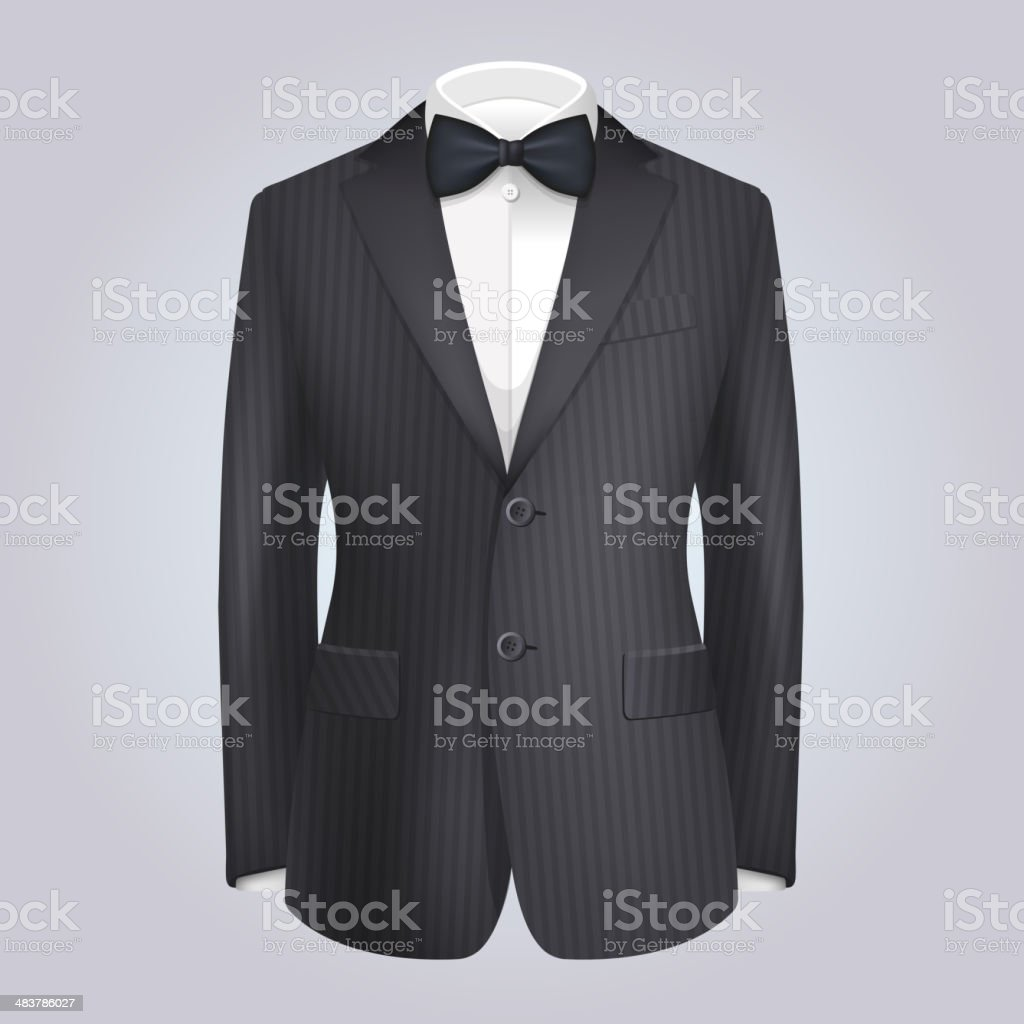 Male Clothing Stiped Dark Suit with Bow Tie. Vector royalty-free stock vector art