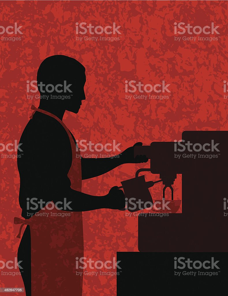 Male Coffee Barista on Textured Background Vector Illustration vector art illustration