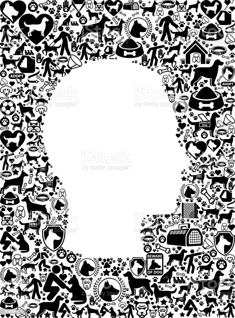 Male Face Dog and Canine Pet Black Icon Pattern vector art illustration