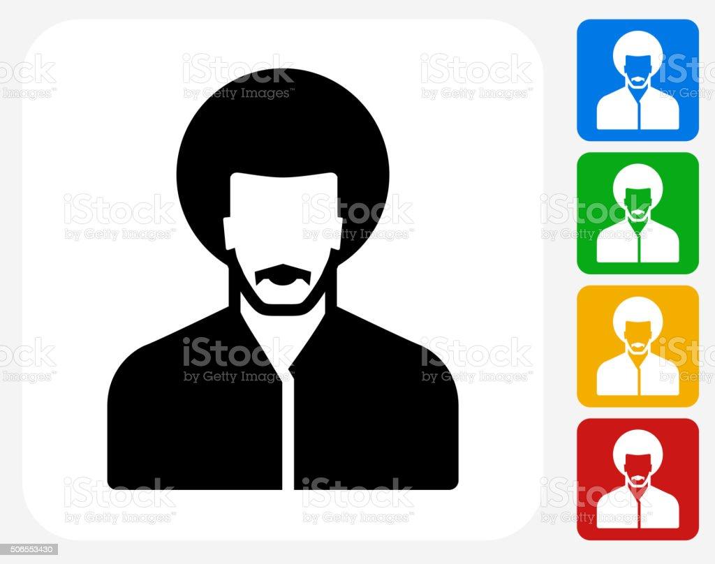 Male Face Icon Flat Graphic Design vector art illustration
