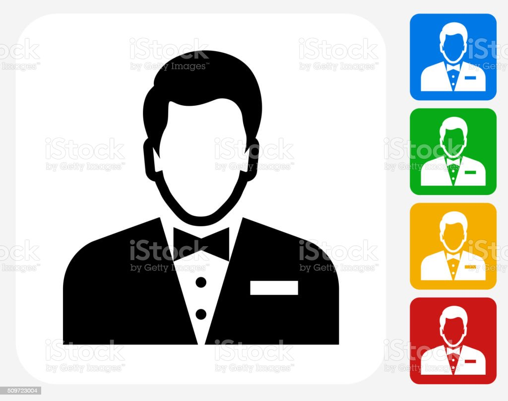 Male Face Icon Flat Graphic Design vector art illustration