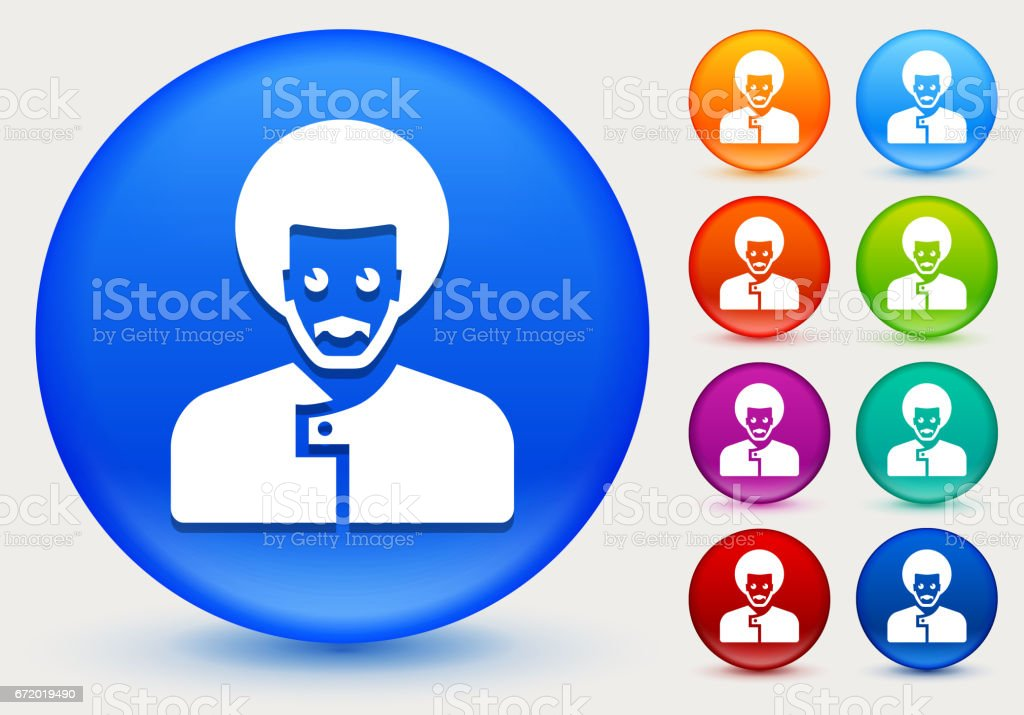 Male Face Icon on Shiny Color Circle Buttons vector art illustration