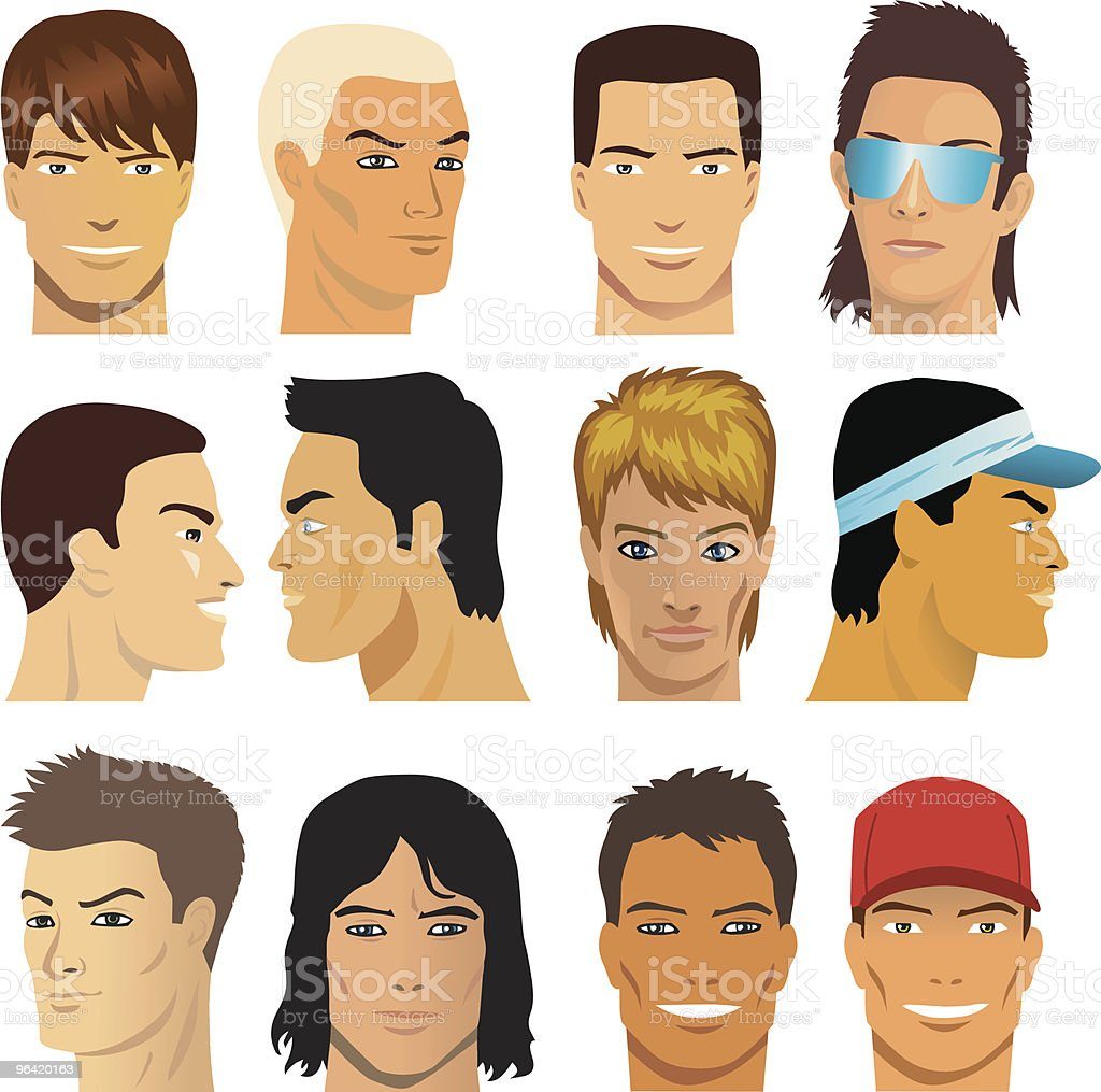 Male Faces vector art illustration